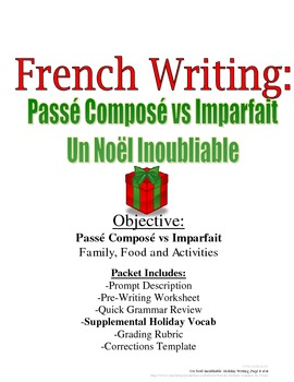 Christmas Writing for French (Passe Compose and Imparfait)