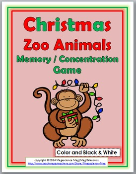 Zoo Animals Memory / Concentration Game - Christmas Activi