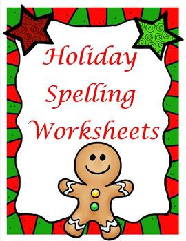Christmas and Holiday Spelling Worksheets **You can use wi