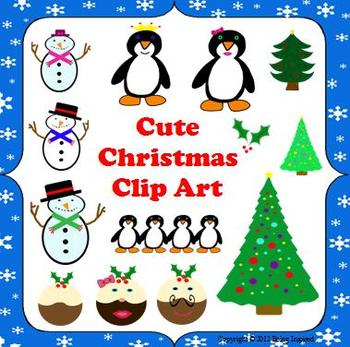 Christmas and Winter Clip Art Pack - Penguins, Snowmen, Ch