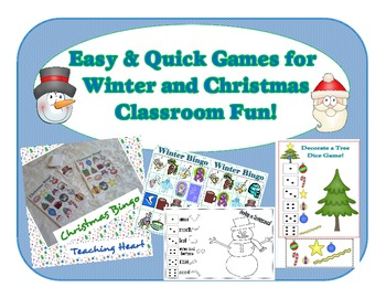 Christmas and Winter Games Bingo, Memory, Roll a Snowman a