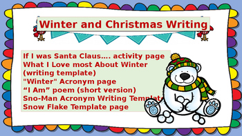 Christmas and Winter Themed Writing activities for lower e