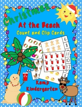 Christmas at the Beach Count and Clip Cards (Sets to 12)