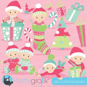 Christmas baby girl clipart commercial use,Christmas babie