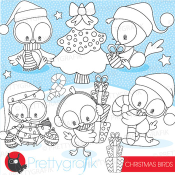 Christmas bird stamps commercial use, vector graphics, ima