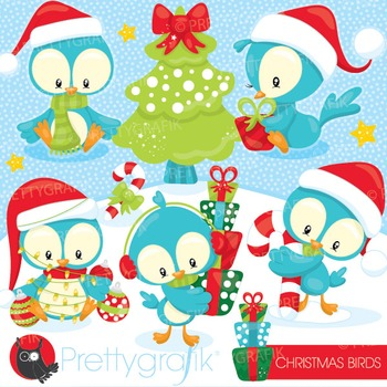 Christmas birds clipart commercial use, vector graphics, d