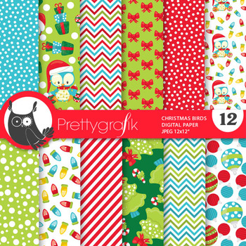 Christmas birds papers, commercial use, scrapbook papers, - PS775