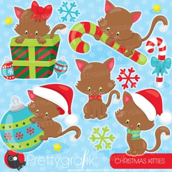 Christmas cats clipart commercial use, graphics, digital c