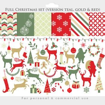 Christmas clip art digital papers deer clip art, reindeer,
