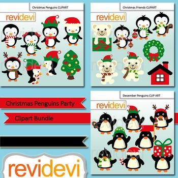 Christmas clipart: Christmas Penguins Party Clip Art Bundl