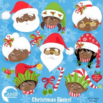 Christmas clipart, Santas Friends & Family Faces clipart AMB-1133