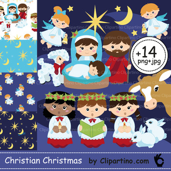 Christmas clipart baby Jesus+paper Bundle