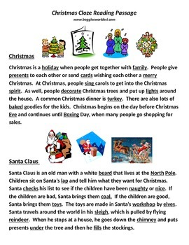 Christmas cloze reading passages w/pictures & English words