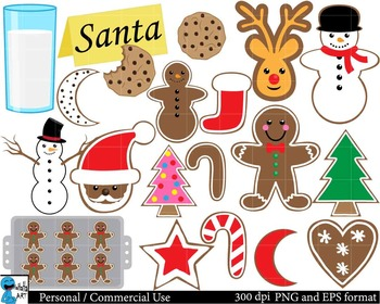 Christmas cookies Set Clipart - Digital Clip Art Graphics