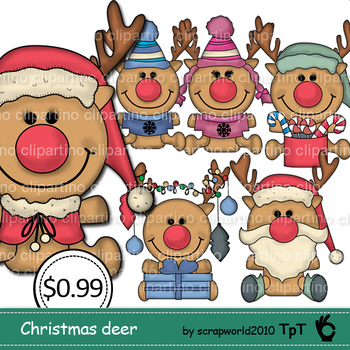 Christmas deer clipart,commerial use,cute clipart-Bundle