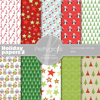 Christmas digital paper, commercial use, scrapbook papers,