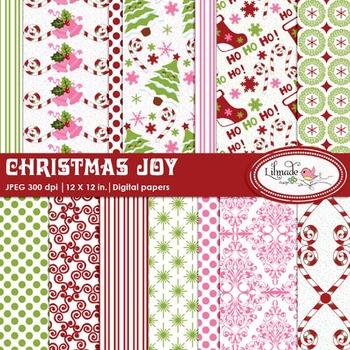 Christmas digital papers, Winter digital papers