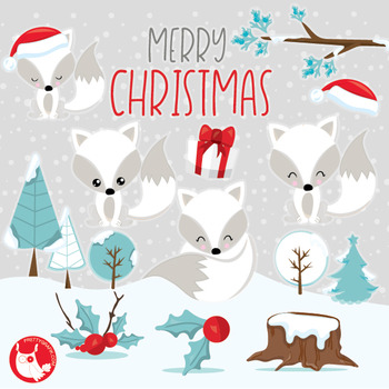 Christmas foxes clipart commercial use, vector graphics, d