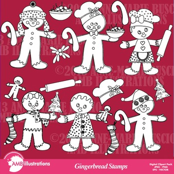 Clipart, Digital Stamps, Christmas gingerbread Outlines, B