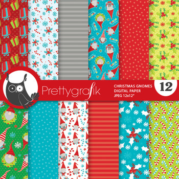 Christmas gnome papers, commercial use, scrapbook papers - PS830