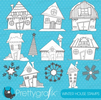 Christmas houses stamps commercial use, vector graphics, i