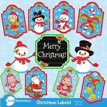 Christmas labels, Santa tags, Gift tags, printable gift ta