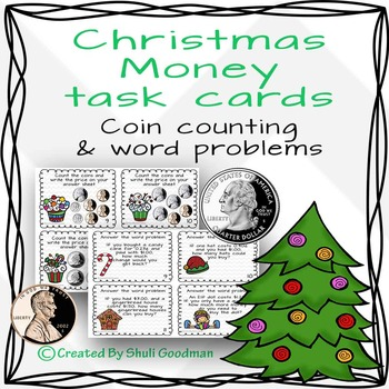 Christmas money counting task cards