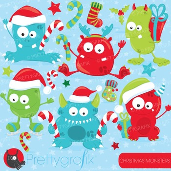 Christmas monsters clipart commercial use, vector graphics