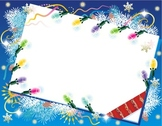 Christmas or New Year Card with Christmas Lights, Commerci