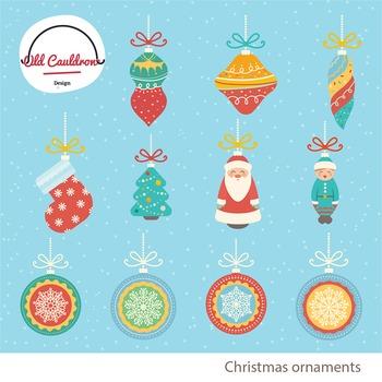 Christmas ornaments commercial use, christmas clipart, vec