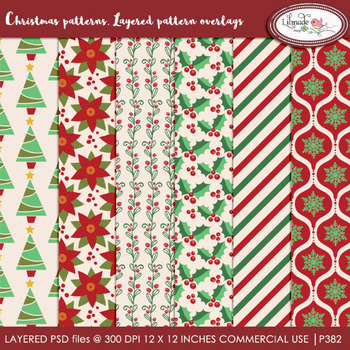 Christmas pattern overlays, Christmas paper templates, PSD