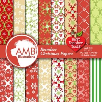 Digital Papers - Christmas Reindeer digital paper and back