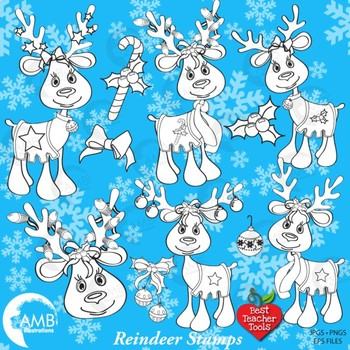 Clipart, Digital Stamps, Christmas reindeer, Christmas lin