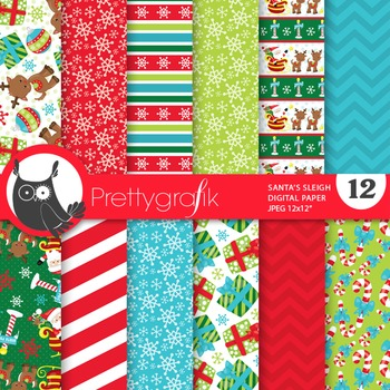 Christmas santa sleigh papers, commercial use, scrapbook p