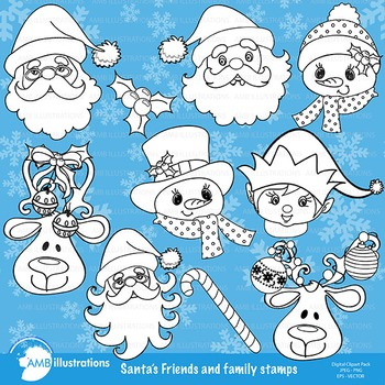 Clipart, Digital Stamps, Christmas Santa Faces, Outlines,