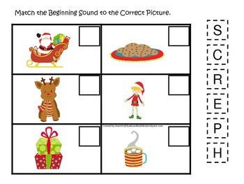Christmas themed Beginning Sounds preschool learning activ
