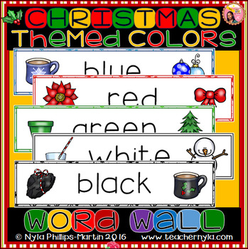 Christmas themed - Illustrated Colors Word Wall