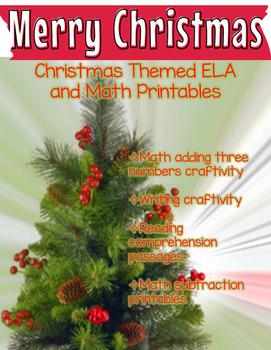 Christmas themed Math and ELA craftivities and printables