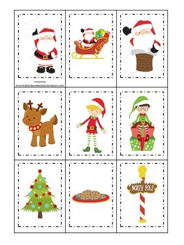 Christmas themed Memory Matching preschool learning activi