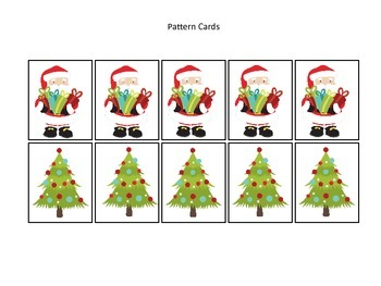 Christmas themed Pattern Cards #1 preschool printable acti