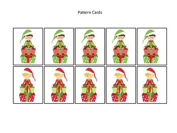 Christmas themed Pattern Cards #3 preschool printable acti