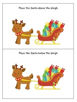 Christmas themed Positional Cards preschool learning game.