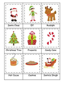 Christmas themed Three Part Matching preschool learning ac