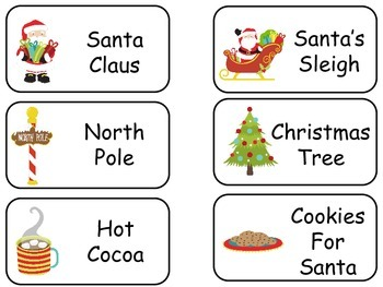 Christmas themed printable Picture Word Flash Cards. Presc