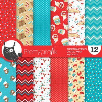 Christmas treat papers, commercial use, scrapbook papers - PS824