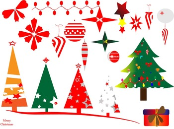 Christmas tree Clipart plant decorations holiday red gift