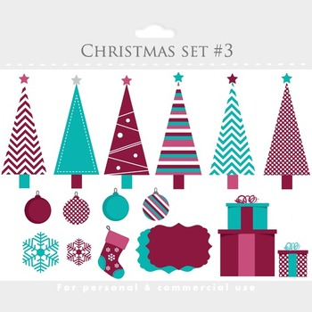 Christmas trees clip art and digital papers- for scrapbook