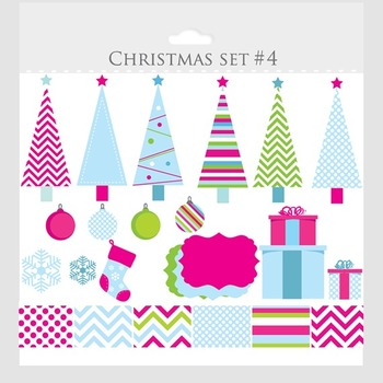Christmas trees clipart and digital papers- clip art, pink