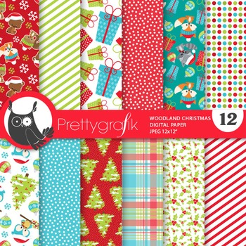 Christmas woodland papers, commercial use, scrapbook paper