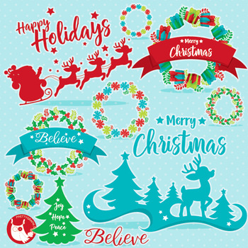Christmas wreaths clipart commercial use, vector graphics,